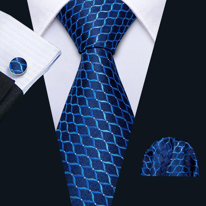2019 Men Wedding Tie Blue Geometric Silk Tie Hanky Set Barry.Wang Jacquard Woven Fashion Designer Neck Tie For Men Party FA-5141