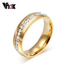 Buy Vnox Classic gold color crystal wedding ring women 6mm stainless steel engagement female finger Jewelry for $2.09 in AliExpress store