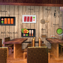 Free Shipping 3D cartoon hand-painted Japanese Restaurant mural wallpaper Noodle sushi shop wood wallpaper