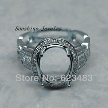 Wholesale - Jewelry 11.5x9.5mm Oval Solid 14K White Gold Engagement Wedding . Semi Mount Ring Set
