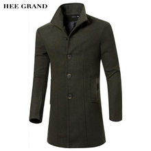 HEE GRAND Men's Wool Coat Hot Sale Fashion Autumn Winter Slim Stand Collar Casual Jacket M-3XL Size 5 Colors MWN207