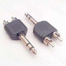 50pcs/lot 6.35mm Adaptor Double Track Plug Turn Double RCA Male Plug /6.5 To Two RCA Male Plug/ One-to-two