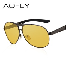 AOFLY Night Vision Goggles Yellow Polarized Sunglasses Driving Glasses Anti-Glare Alloy Frame UV400 AF8044(China)