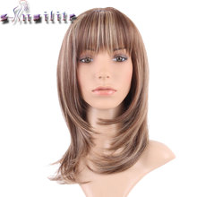 S-noilite Straight Synthetic Wigs For African American Black Women Long Brown Mixed Blonde Two Tone Wigs With Bangs(China)