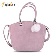 Guapabien Spring Summer Woman Handbag Kawaii Pink Bag Hairball Shoulder Bag Leather Messenger Bag Crossbody Tote Bag For Ladies