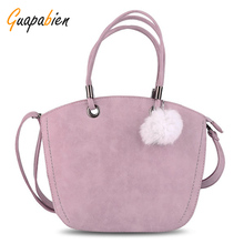 Guapabien Spring Summer Woman Handbag Kawaii Pink Bag Hairball Shoulder Bag Leather Messenger Bag Crossbody Tote Bag For Ladies(China)