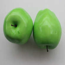 2 pcs Decorative Large Artificial Green Apple Plastic Fruits Home Party Decor(China)