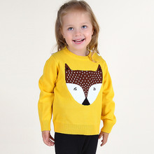 Baby Girl Sweater 2016 New Fall Winter Cartoon Fox Knit Sweaters Toddler Cardigan Girls Knitwear Pullover Top Children Clothing