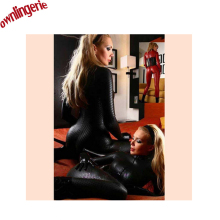 Buy Black red color Latex Erotic Catsuit Zip Front Faux Leather Sexy Costume Bodycon Jumpsuit Clubwear Bodysuit Zipper