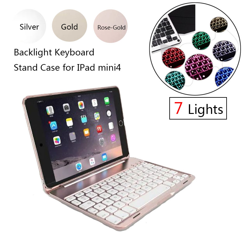 ABS plastic alloy Metel Ultrathin Keyboard Dock Backlight Cover Case Stand Holder For Apple iPad mini4 7.9 inch keyboard case<br>