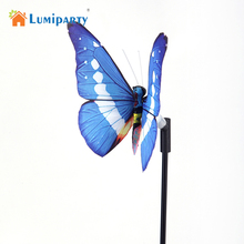LumiParty 2pcs/lot LED Simulation Butterfly Solar Power Light garden Landscape lights Color Changing lights for Garden, Lawn(China)