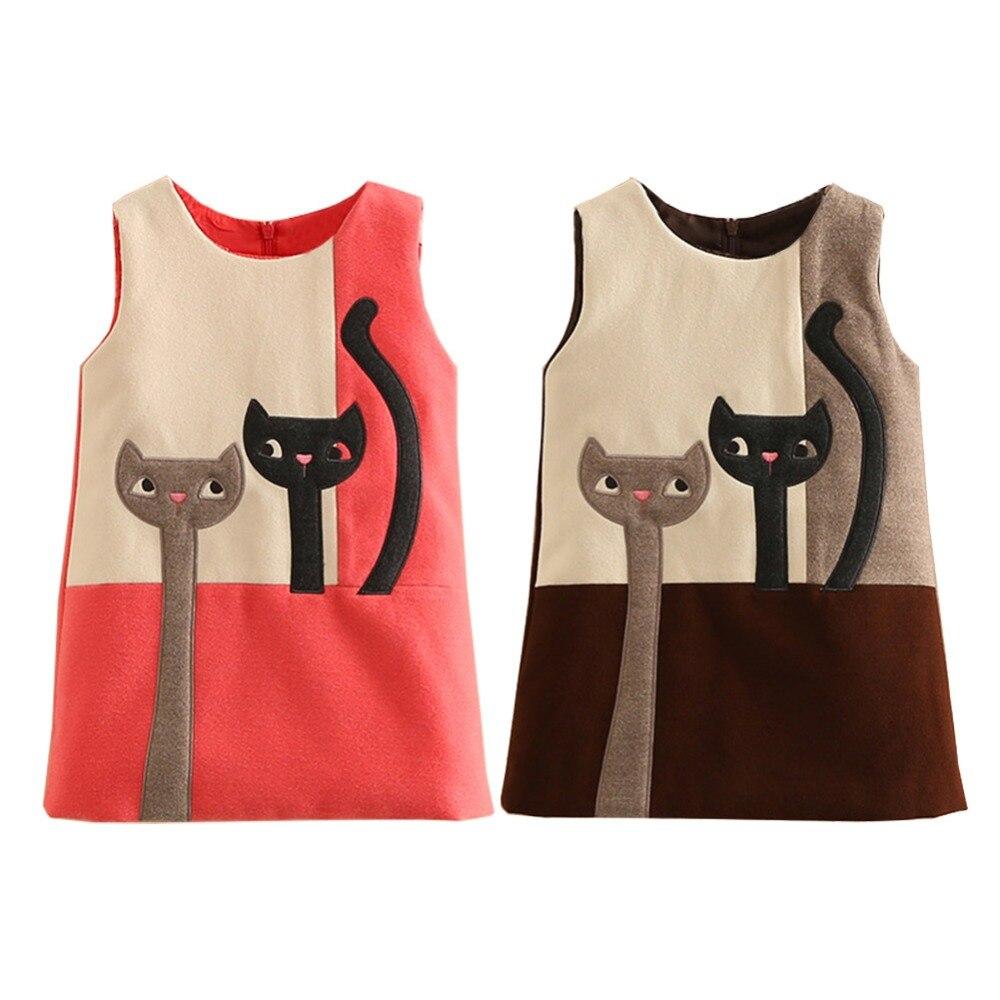 LittleSpring Baby Girl Sleeveless Wool Dress 2017 Autumn Fashion Lovely Cat Patchwork Vest Party  Dresses Girls Winter Basic Top<br><br>Aliexpress