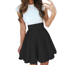 Sexy School Girls Short Skirts Womens Black A-Line Party Cocktail Mini Skirt Ladies High Waist Pleated Skater Skirt Saia Midi(China)