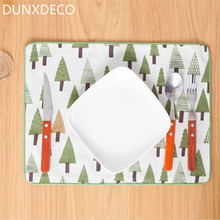DUNXDECO Table Placemat Plate Pad Mat Desk Accessories Home Decoration Nordic Green Tree Print Pattern 2PCS 30x40CM