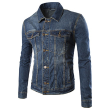 2016 Fashion Men's Cotton Denim Jackets Coat Casual Slim Fit Single Breasted Mens Jeans Jacket
