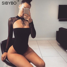 Buy Sibybo Mesh Transparent Halter Sexy Bodysuit Women Long Sleeve Lace Hollow Skinny Rompers Womens Jumpsuit Black Bodysuits