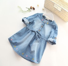 Hot Sale Item Girls Cotton Soft Denim Dresses Baby Girls Long-sleeve Denim Dresses Kids Spring Autumn Floral-embroidery Dresses