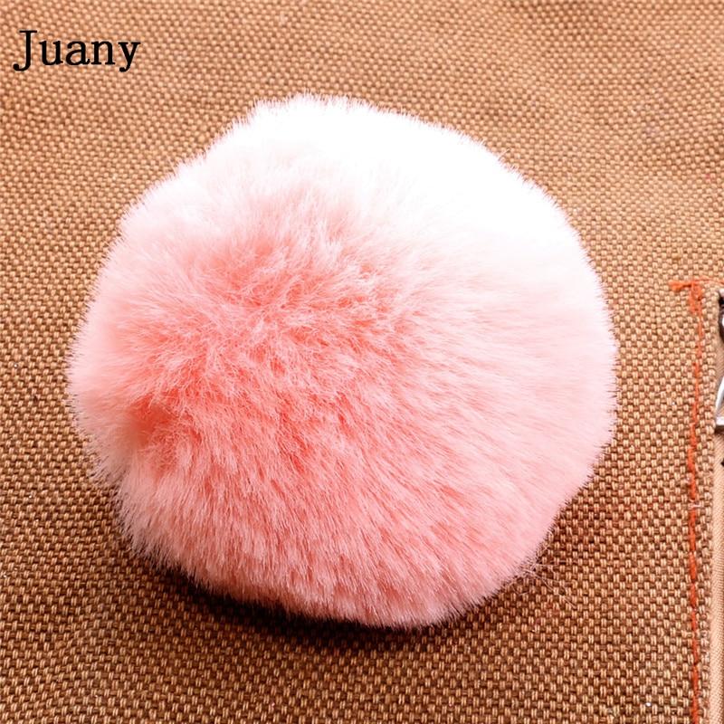 pompom key chain fluffy rabbit fur ball with bell key chain fake fur keychain women car bag key ring 3