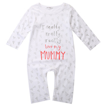 2016 wholesale dropshipping newborn baby boy girl I love mum dad letter printed cotton long sleeve rompers for 0-24M(China)
