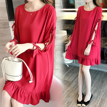 Make big yards dress fat mm fertilizer increased loose pure color sleeve chiffon dress fashion