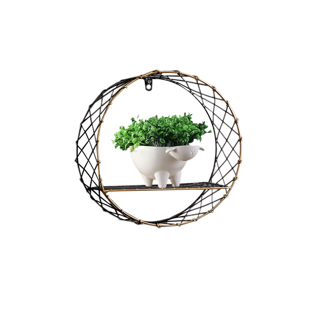 3 Sizes Retro Wall-Mounted Metal Rack Circular Mesh Iron Shelf Industrial Style Round Shelf Office Sundries Organizer Home Decor 6