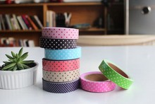 Hot sale sweet design good quality wholesale High quality Polka Dot tapecolorful Adhesive Tape sticker .cute lovey school stat(China)