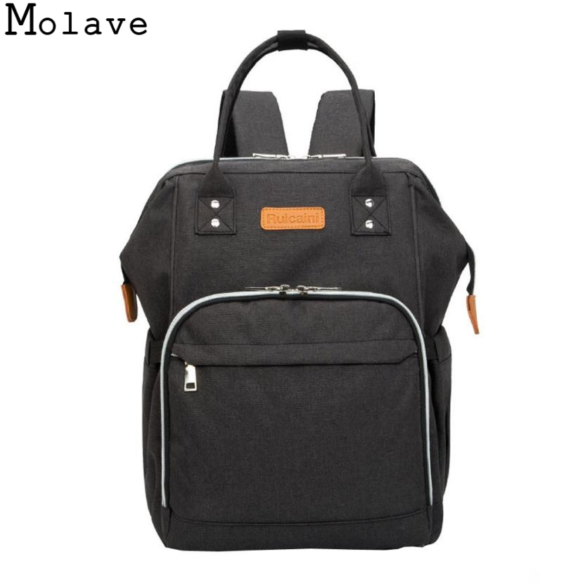 MOLAVE  Large Capacity Diaper Bag Mommy Nappy Bag Double-shoulder Backpack Mother &amp; Kids Stroller Pram Bags Waterproof Sep26<br>