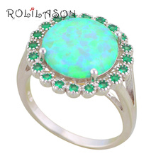 ROLILASON Brand Prom Gifts Green Fire Opal Silver Stamped Green Zircon Fashion Jewelry Ring USA size #6#7#8#9#10 OR865