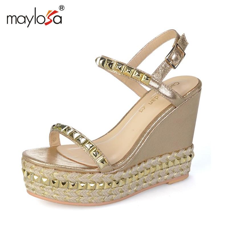 Women wedges sandals   high heels sandals Straw shoes Casual platform shoes ML69<br><br>Aliexpress