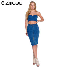 Women Two Piece Set Denim Casual Outfit Sexy Tracksuit Ensemble Strapless Blue Jeans Skirts Bandage Crop Top Bodysuit Suit BN782(China)