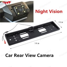 new arrival European Car Licence Plate Night Vision CMOS Car Rear View Camera Car Monitor with 4 LED Light(China)