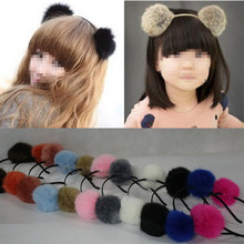 6cm Artificial Fake Rabbit Fur Ball Girls Headwear Christmas Party Headband Princess Women Hairband Hair Accessories Xmas gift(China)