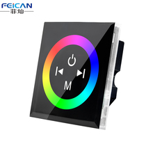 DC12V-24V 12A 4A /CH Black Wall Mounted RGB Touch Panel LED Controller Touch Panel RGB Full Color LED Controller Free Shipping