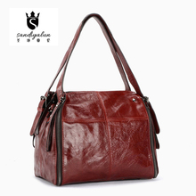 New Fashion Oily Top Leather Woman OL Handbags Ladies Retro Mori Girls Style Tote Single Shoulder Bags Thread Pattern Office Bag
