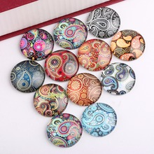 Onwear mixed handmade paisley photo round glass cabochon 10mm 12mm 14mm 18mm 20mm 25mm diy jewelry making accessories