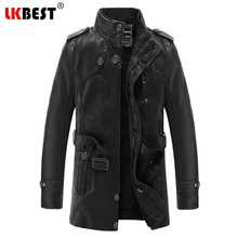 LKBEST 2017 New long Male leather jacket punk warm mens leather jackets and coats casual motorcycle jacket brand outwear (PY20)