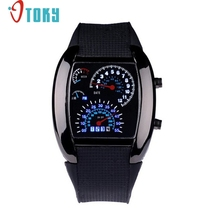Hot hothot 2017 Aviation Turbo Dial Flash LED Watch Gift Mens Lady Sports Car Meter Stainless steel Dress Wristwatches mr28(China)