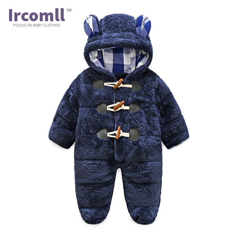 2017 Ircomll NEWEST Warm Body suit Childrens Coral Fleece Hooded Rompers For baby Kid Jumpsuit Outwear Infant Boy Clothing<br>