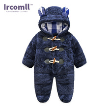 2017 Ircomll NEWEST Warm Body suit Children's Coral Fleece Hooded Rompers For baby Kid Jumpsuit Outwear Infant Boy Clothing(China)