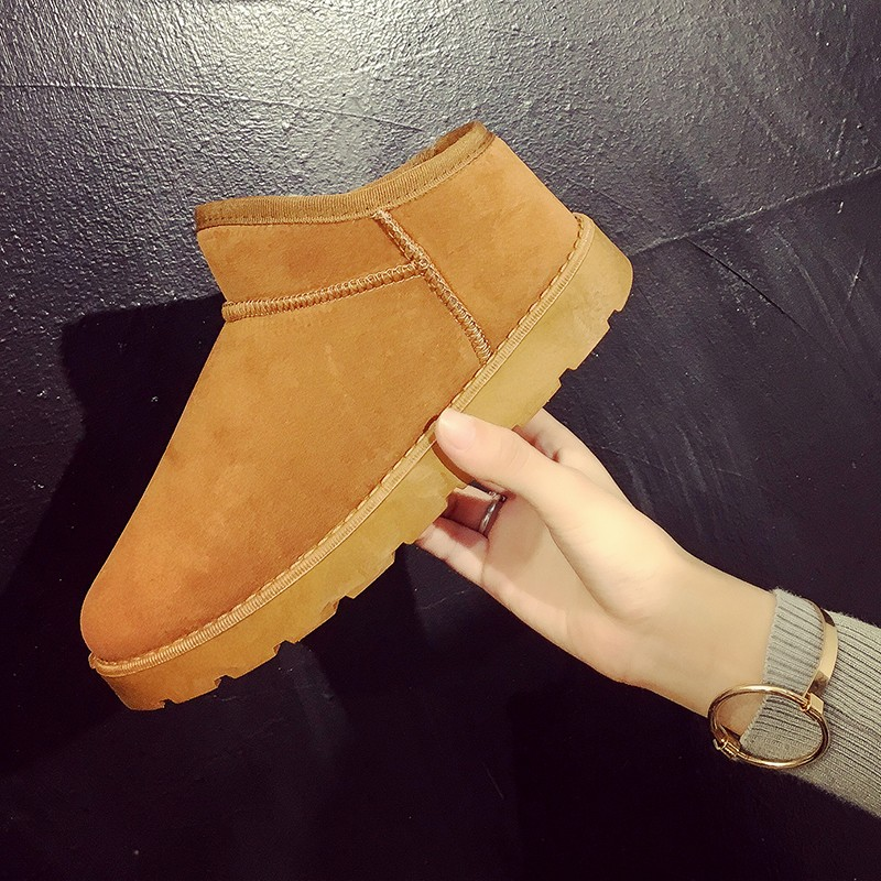 2017 autumn and winter Korean bread plus velvet snow boots shoes warm thick short tube low flat shoes help students tide<br><br>Aliexpress