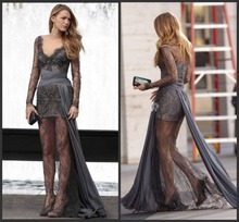 Sexy Lace Cocktail Dresses Gossip Girl Blake Lively Grey Sexy Lace Long Sleeve Celebrity Prom Gown Zuhair Murad Evening Gown(China)