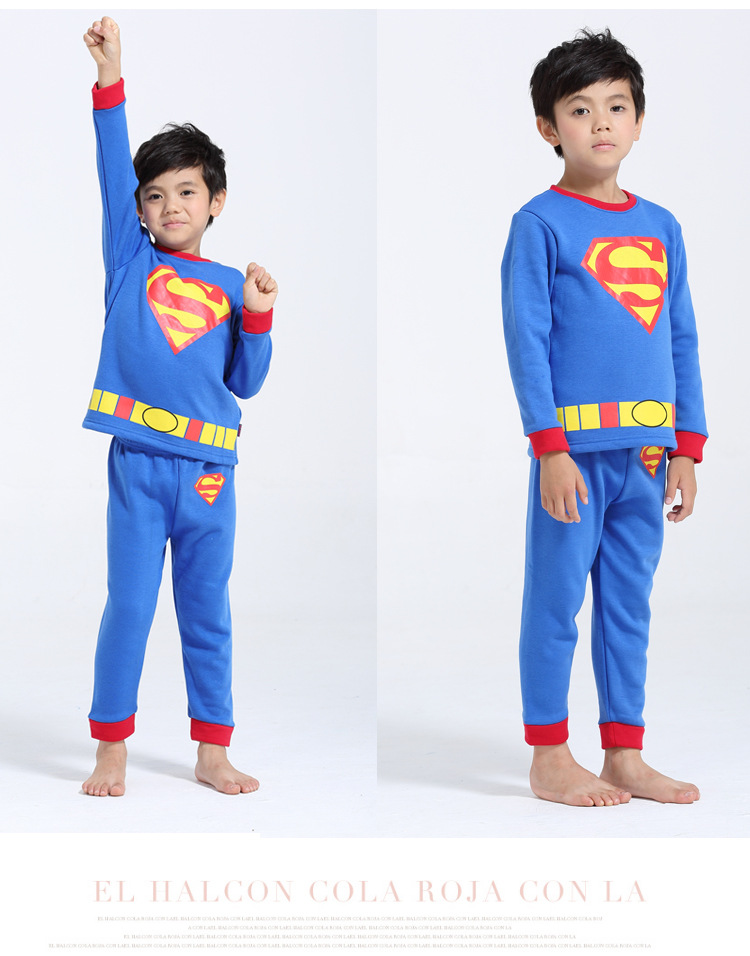New Cartoon Superman Costume Children Pajamas Casual Home Wear For 2-7 Years Boys 100% Cotton Childrens Clothing Sets SportSuit<br><br>Aliexpress