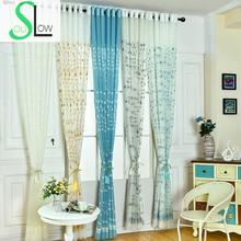 Slow Soul Yellow Blue White Green Floral Cotton Curtain Embroidered Tulle Curtains For Living Room Kitchen Sheer Bedroom