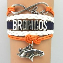 infinity love Denver Broncos bracelet football charm bracelets & bangles sport team gift for women men jewelry drop shipping(China)