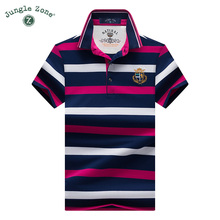 JUNGLE ZONE color Stripe Polo Shirt short-sleeved polo shirt Business Male polo shirt Hot PRODUCTS 2017 Top Quality Polo's(China)