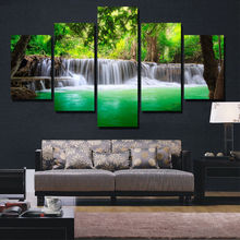 BANMU 5 Panel Waterfall Painting Canvas Wall Art Picture Home Decoration Living Room Canvas Print Painting Canvas Art Unframed(China)