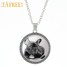 TAFREE Cute Gray French Bulldog Necklace Queen Dog send for dogs lover animals series pendant vintage men women jewelry A151
