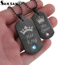 New Design Couple Necklaces Her King & His Queen Stainless Steel Tag Pendant Necklace For Lovers Valentine's Day Gift(China)