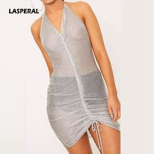 LASPERAL 2017 Hot Women Sexy Mini Dress Silver Halter Sleeveless Mesh Dress Night Club Party Dress Backless See Through Vestidos