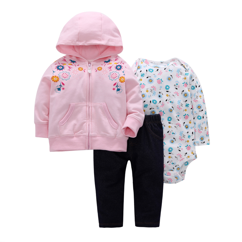 cute baby girl Clothing Long sleeve zipper hooded coat pink+floral romper+pants 3 piece clothes set newborn baby boy outfits